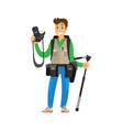 young photographer with photo equipment isolated vector image vector image