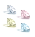Set of Colored Shiny Clear Diamonds on Background vector image