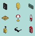 tourism color outline isometric icons vector image