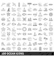 100 ocean icons set outline style vector image