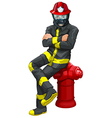 A fireman sitting above the hydrant vector image vector image
