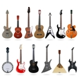 Acoustic and electric guitars set vector image