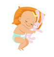 adorable little baby in a diaper sleeping and vector image vector image