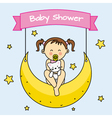 Baby girl sitting on the moon vector image vector image