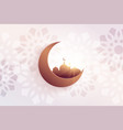 beautiful eid festival greeting with mosque and vector image