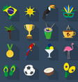 brazil summer set of flat icons cartoon and vector image vector image