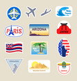 cartoon color travel stickers suitcase set vector image