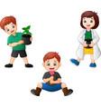 cartoon kids holding a plants vector image