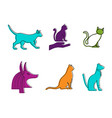 cat icon set color outline style vector image