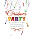 Christmas party poster with confetti and ribbons vector image vector image