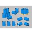 Cube World Blue plastic barrels vector image vector image