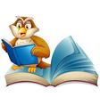 Cute owl reading a book vector image vector image