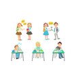 cute primary schools pupils communicating and vector image vector image