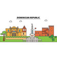 dominican republic outline skyline dominican flat vector image vector image