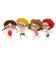 four kids wearing swimming goggles vector image vector image