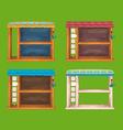 Game wooden shelf windows set vector image vector image