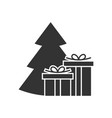 giftbox at the christmas tree icon vector image vector image