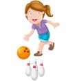 girl bowling vector image vector image