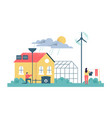 green eco friendly sustainable house and people vector image