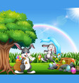 happy easter bunnies on the nature park vector image vector image