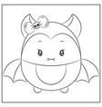 happy halloween cute bat sketch for coloring vector image vector image