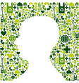 Human head with green icons background vector image