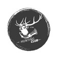 hunting club grunge logo with deer vector image
