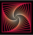 inward concentric rotating spirally squares vector image