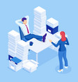 isometric stacks paperwork and files in the vector image