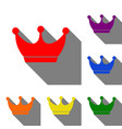 king crown sign set of red orange yellow green vector image vector image