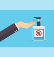 man washes his hands with soap from sanitizer vector image vector image