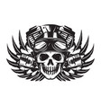monochrome image on motorcycle theme with skull vector image vector image