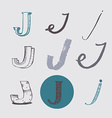 Original letters J set isolated on light gray vector image vector image