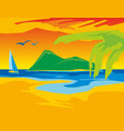 panorama sunset sea flat color vector image vector image