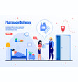 pharmacy delivery company flat webpage vector image vector image