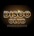 premium emblem disco club black and gold alphabet vector image