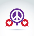 Round antiwar and love icons speech bubbles with vector image