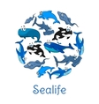 Sealife poster with sea and ocean fishes vector image vector image