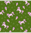 seamless pattern on a green background unicorn vector image vector image