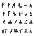 set black school children silhouette icons vector image