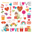 set love elements gifts hearts birds vector image