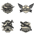 Set of flying club labels and emblems vector image vector image