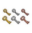 set of golden silver bronze pixel keys vector image vector image