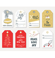 Set of hand draw Christmas gift tags vector image vector image