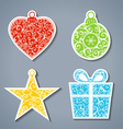 set of paper Christmas stickers vector image