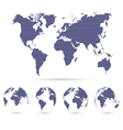 Set of strip world maps