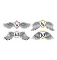 set of wings emblem with badge vector image vector image
