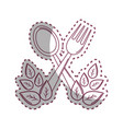 silhouette fork and spoon kitchen tools with vector image vector image