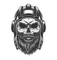 skull in tank helmet vector image vector image