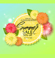 summer sale banner poster with beautiful flowers vector image